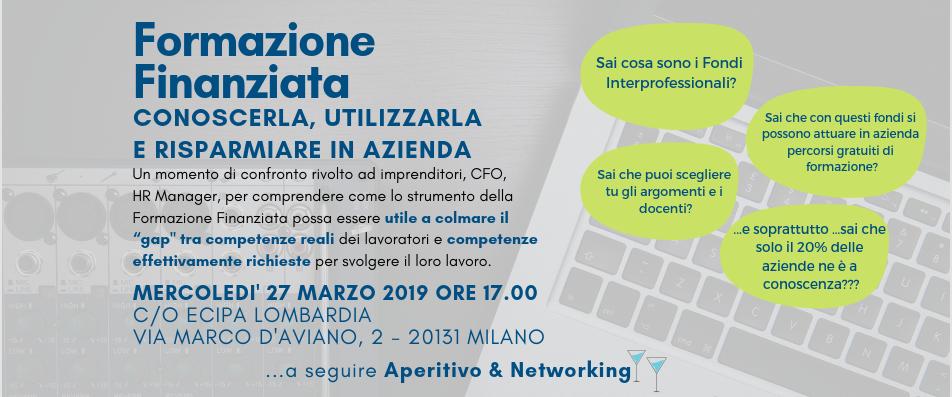 Evento Gratuito 27/03/2019 | FORMAZIONE FINANZIATA: conoscerla, utilizzarla e risparmiare in azienda